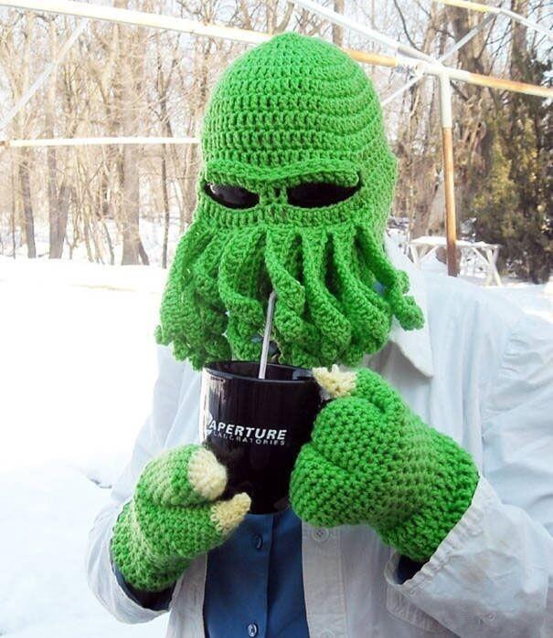 Handmade Funny Tentacle Octopus Hat Crochet Cthulhu Beard Beanie Men