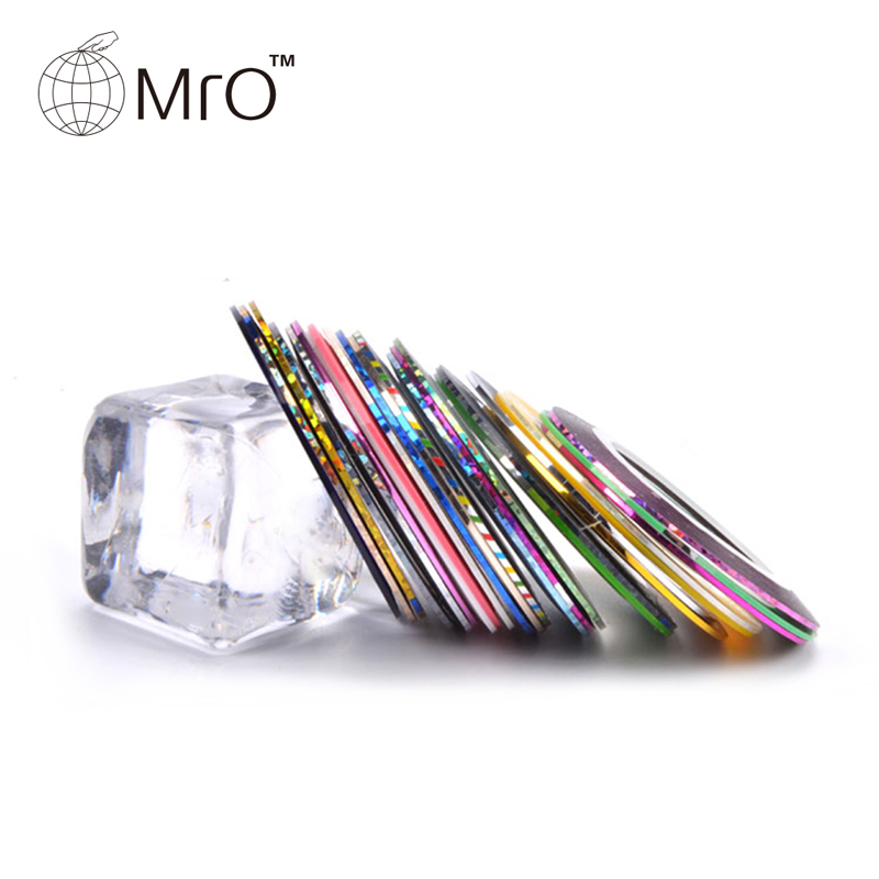 10Pcs Nail Art Sticker Rolls Striping Tape Line UV Gel Tips Decorate DIY Kit 10 color 20m rolls nail art uv gel tips striping tape line sticker diy decoration 03ik