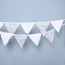 12Flags 3.2m White Lace bunting flags Banner For Baby Shower Birthday Party Decoration Kids Room Decoration Garland Bunting