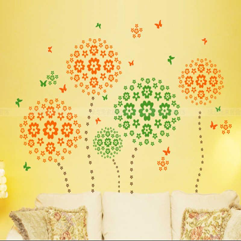 נופש מכירה 108 פרחים & 6 פרפר DIY נשלף קיר מדבקת מדבקות בית חדר שינה סלון/חתונה חדר ילדים ילדים בנות
