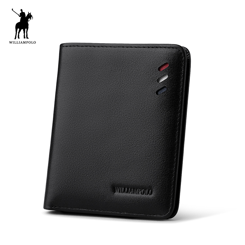 WILLIAMPOLO 2017 Leather Designer Genuine Leather Men Slim Thin Mini Wallet Male Small Purse Credit Card Dollar Price POLO250 williampolo mens mini wallet black purse card holder genuine leather slim wallet men small purse short bifold cowhide 2 fold bag