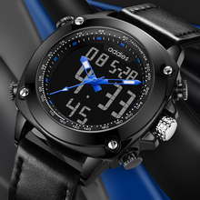 2019 Genuine Leather Men Watch Digital Men's Quartz Sport Watches Waterproof Luminous Buckle Wristwatch Mens Watches Top цена в Москве и Питере