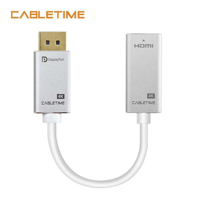 Cabletime DP To HDMI Converter Adapter M/F 4K 30HZ Display Port To HDMI Adaptor for Macbook HDTV Projector Camera Monitor N166