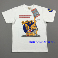 BOB DONG Men Military Style T Shirt BOTTOMS UP Print Mens Tee Shirt Heavy Weight 300g Summer T Shirt US Army Tops O Neck Tee