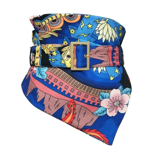 2019 New Flower Printed Wide Corset Belt Kemer Female Ladies Designer Waist Belts Cummerbunds for Women Dresses Cinturon Mujer