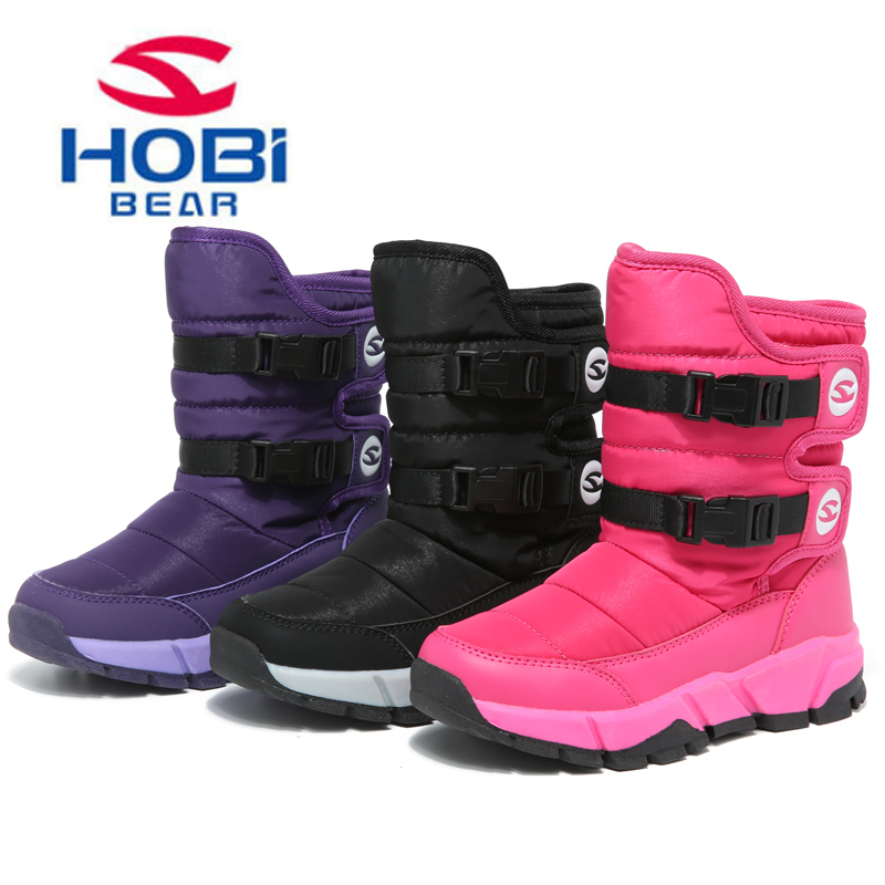 HOBIBEAR Kids Shoes Children's Winter Boots for Girls Boys Warm Plush Waterproof Antiskid Hook Loop Outdoor Snow Shoes AW3179 yin qi shi man winter outdoor shoes hiking camping trip high top hiking boots cow leather durable female plush warm outdoor boot