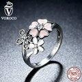 VOROCO 100% Poética Da Flor Da Margarida 925 Sterling Silver Pink Cherry Blossom Anel de Dedo Compatível com VRC Mulheres Jóias R004
