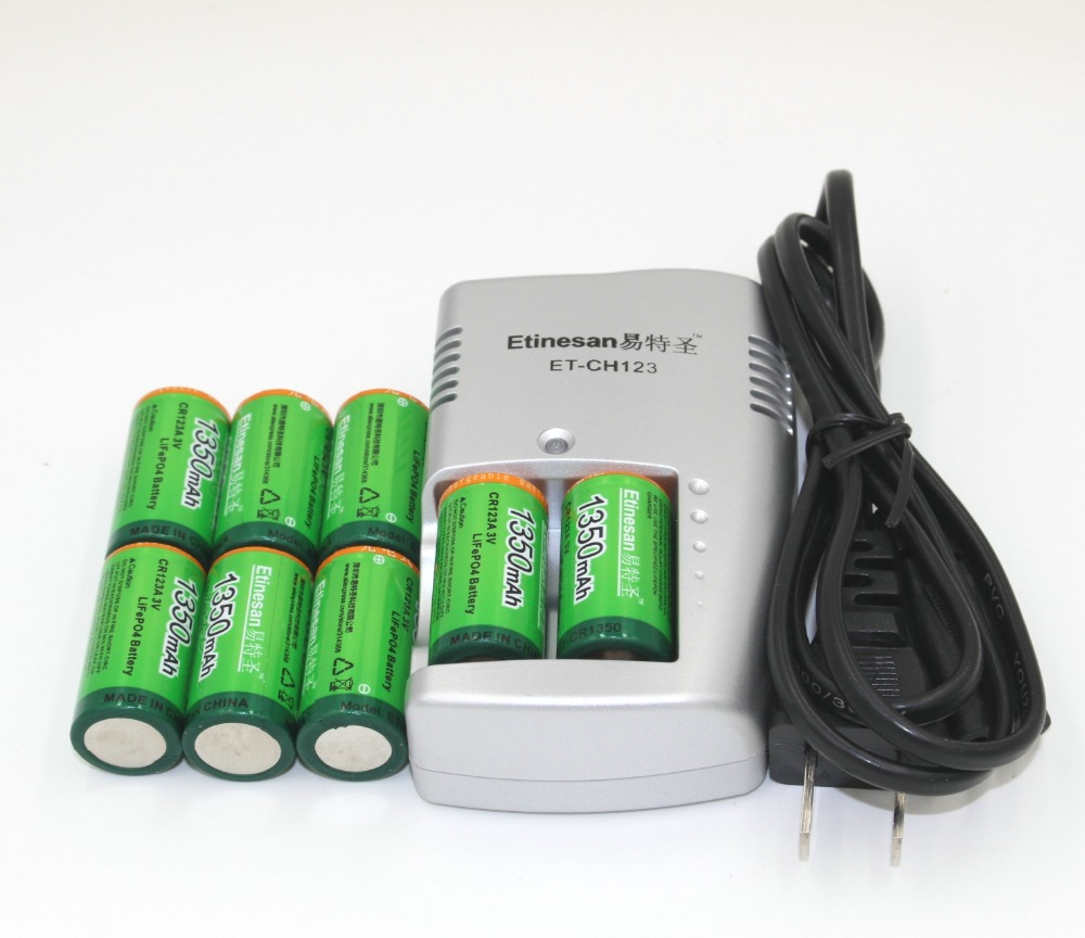 цены Super 8pcs Etinesan 1350mAh 3v CR123A rechargeable LiFePO4 battery lithium battery with CR123A charger