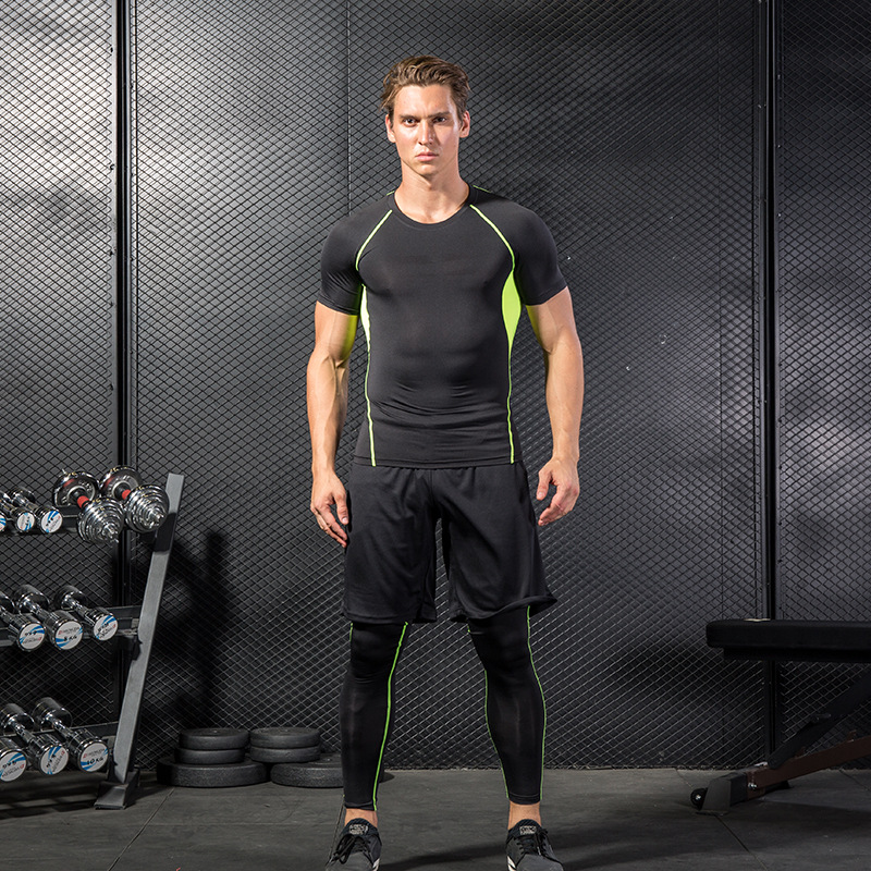 men's fitness wear three piece speed dry skin tight gym