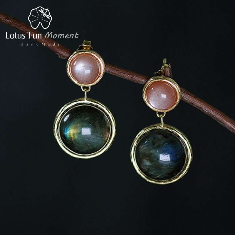 Lotus Fun Moment Real 925 Sterling Silver Natural Labradorite Fashion Jewelry Mysterious Lake Dangle Earrings for