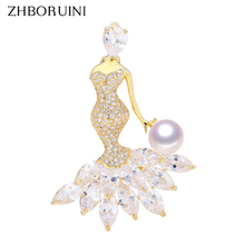 ZHBORUINI 2019 Natural Freshwater Pearl Brooch Simple Round Gold Many Pearls Brooch Pins Pearl Jewelry For Women Accessories victorian vintage dark blue crystal burst star brooch gold tone imitated pearl deco domed round pink stone cross pins for outfit