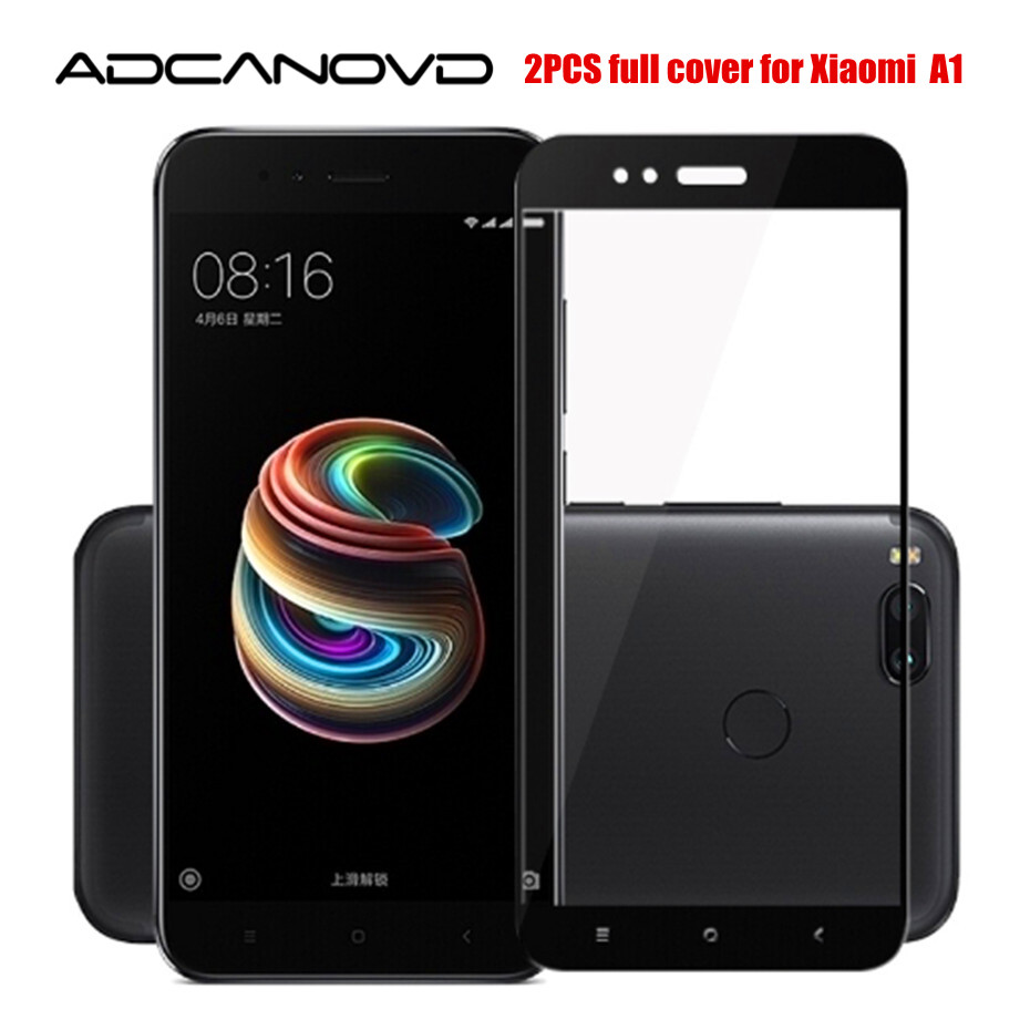 "2PCS Xiaomi Mi A1 Glass Full Cover Tempered Glass For Xiaomi Mi A1 5.5"" Screen Protector For Xiomi A1 MiA1 Protective Glass Film"