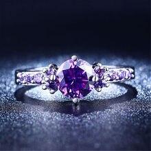 Миди бриллиантами аметист серебряные обручальные bijoux cz фиолетовый кольца симпатичные свадебные
