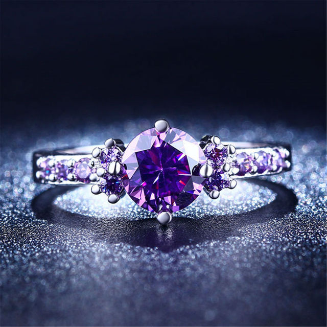 Fashion Purple Silver Jewelry Amethyst  rings for women engagement ring wedding female rings cute jewelry bijoux L200