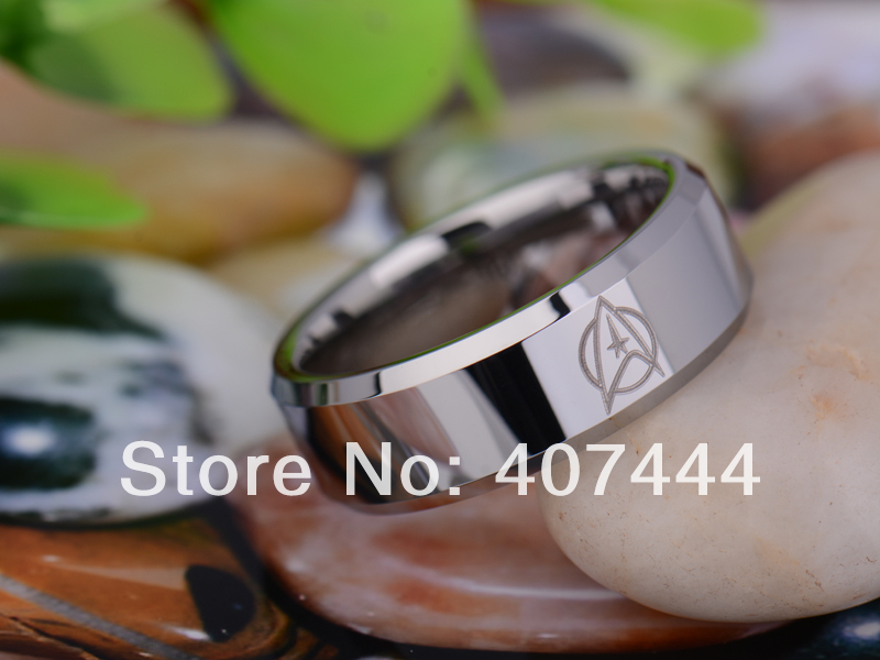 free shipping usa uk canada russia brazil hot sales 8mm silver beveled star trek design mens lord tungsten carbide wedding ring - Star Trek Wedding Ring