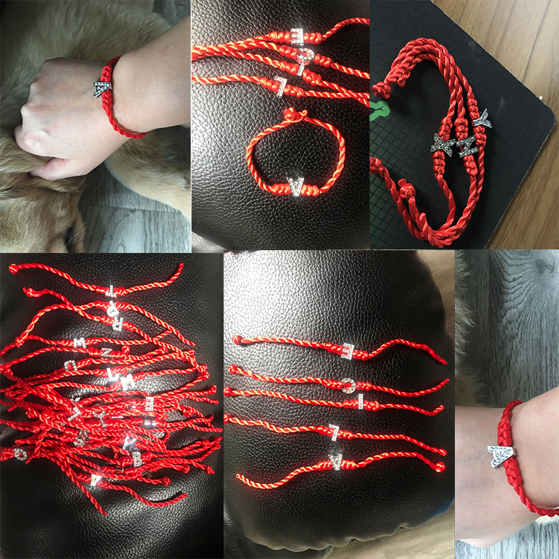 Cord-String Letters Lucky-Bracelets Charms Handmade Jewelry Red-Rope Crystal For Couple