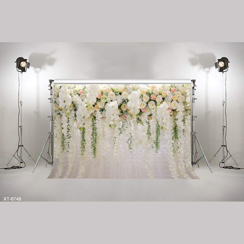 Vinyl 3D Blooming White Flowers Wall Backdrops Curtain For