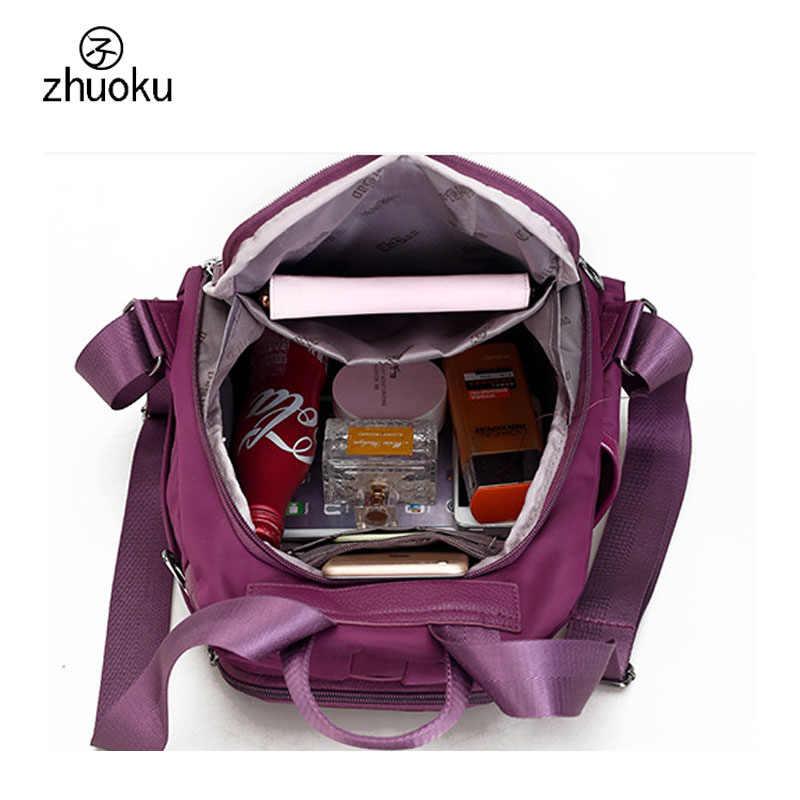 School backpack Vintage Women Black Nylon Backpack School bags for teenage girls good quality sac a dos femme rugzak Z403