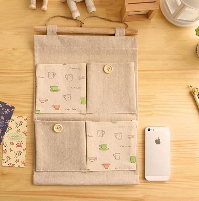 1 Set Cute 4 Pockets Vintage Linen Closet Hanging Storage Organizer Bags  Door Rack Wall Holder