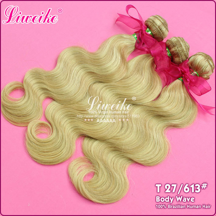 #27/613 blonde color Brazilian human Hair extensions 2pcs/ 16-26 piano hair weave body wave 6A hair products free shipping