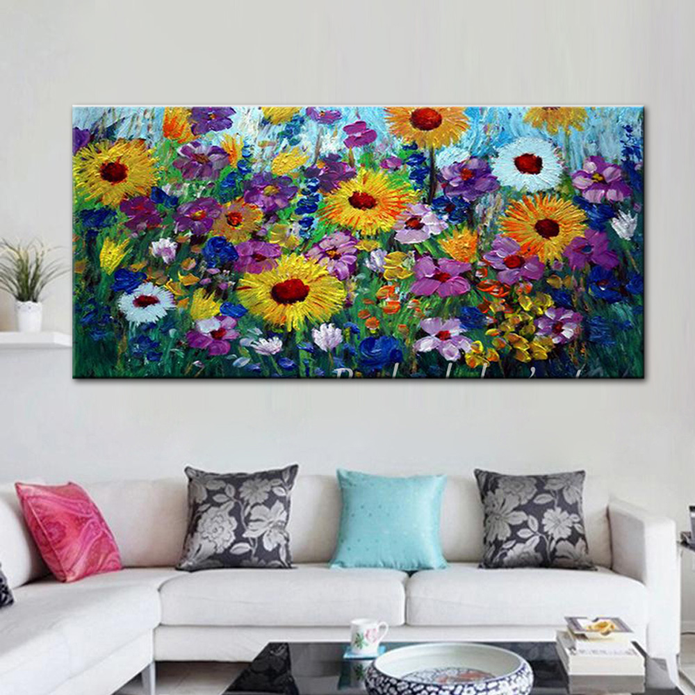 Купить с кэшбэком Large Size Hand Painted Abstract Art Wild Flower Landscape Oil Painting On Canvas Wall Picture Living Room Home Decor Frameless