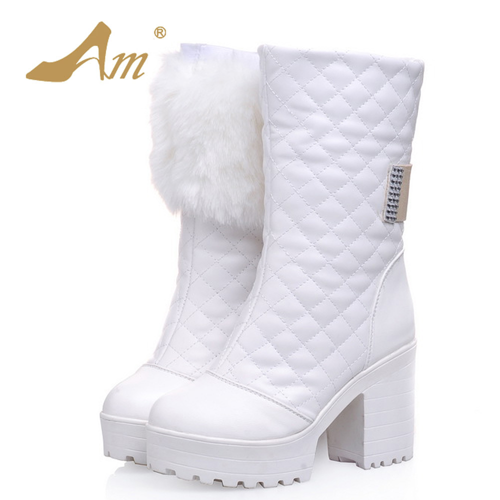 AME Winter Women Size 34-43 Mid Calf Boots Woman Warm Lace up Preppy Style Snow Boots with Faux Fur Decoration double buckle cross straps mid calf boots