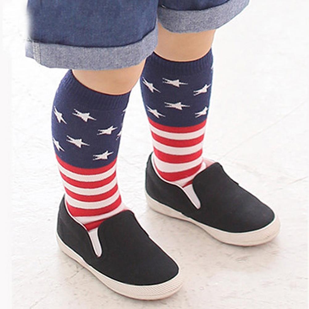 Kids Girls Cotton Striped Tights School High Knee Socks Leg Warmer