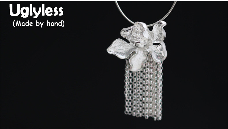 Uglyless Real S990 Silver Fine Jewelry for Women Exaggerated Big Size Flower Pendant Necklace without Chain Chains Tassel Bijoux vintage designer 100