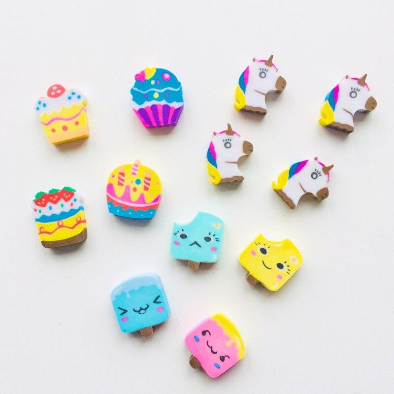 4pcs/Pack Kawaii Cake Unicorn Ice Cream Rubber Erasers Correction School Office Supply Student Stationery Kid Gift
