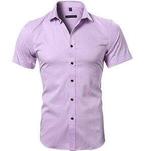 Image 5 - Blauw Bamboevezel Shirt Mannen 2018 Zomer Korte Mouw Heren Dress Shirts Casual Slim Fit Easy Care Effen Non Iron chemise Homme