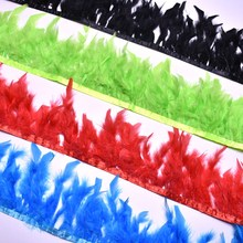 2yard fluffy Beautiful Turkey feathers ribbon fringe 4-6inch/10-15cm turkey feather trimming for carnival Clothing accessories