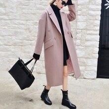 X-длинный негабаритных пальто с подкладкой внутри теплый толстый Повседневное пальто новый Для женщин верблюжья шерсть-как Пальто для будущих мам осень-зима 2016
