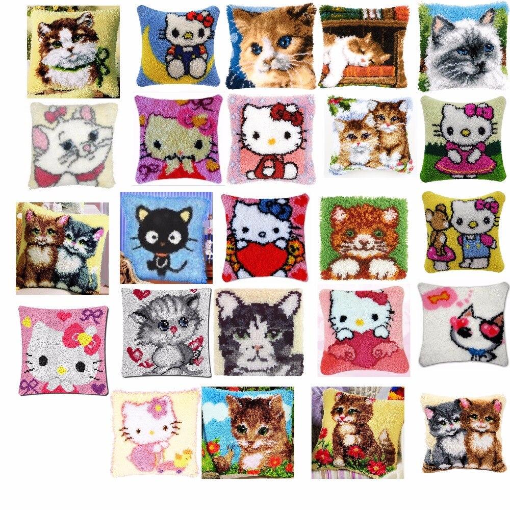 cats 2 Cushion Latch Hook Kit Pillow Mat DIY Craft Flower 42CM 42CM Cross Stitch Needlework Crocheting Cushion Embroidery