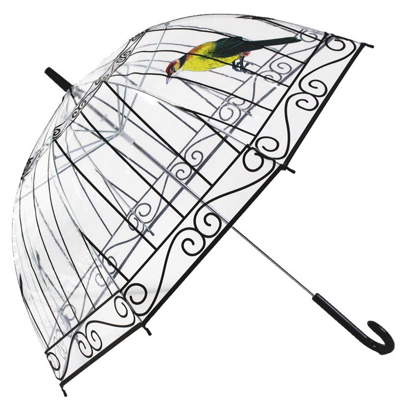 new styles dbec4 952df Transparent Umbrella Rain Women Long-handle Umbrella 8 Ribs Sunny and Rainy  Umbrella Paraguas Creative Bird Cage Parasol