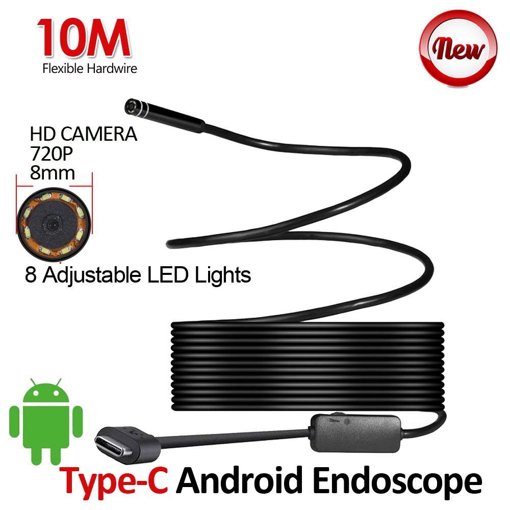 8mm Lens HD720P 10M USB Type-C Android Endoscope Camera Flexible Snake Hardwire Waterproof Pipe Inspection USB Endoscope Camera usb3 0 round type panel mounting usb connecter silver surface