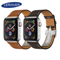 Lerxiuer Deployment Buckle Strap For Apple Watch band 42mm 38mm Iwatch 4/3/2/1 44mm 40mm Genuine Leather Single Tour Bracelet