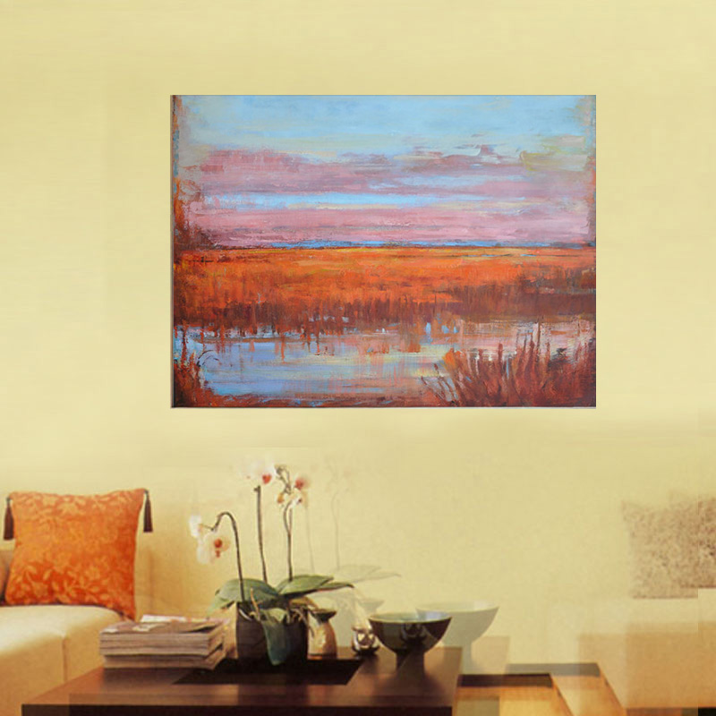 Large Abstract Oil Pianting red brown blue color Canvas Art Modern ...
