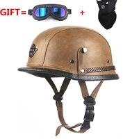 FREE SHIPPING Black Adult Open Face Half Leather Helmet for Harley Moto Motorcycle Helmet vintage Motorcycle Motorbike Vespa