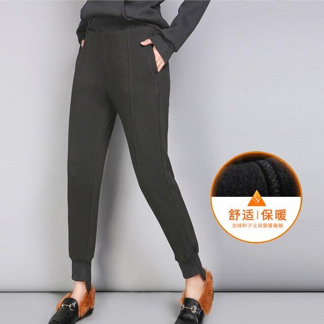 Women's Winter Warm Sports Pants Plus Size Thick Velvet Jeans Women Loose High Waist Stretch Denim Harem Pants