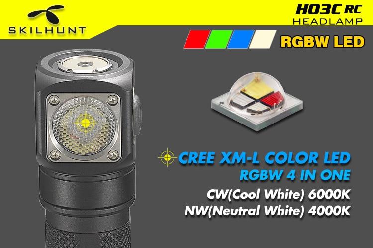 Skilhunt h03c rc vermelhoverdeazulbranco multi cores led farol lanterna