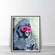 Banksy Gorila Em UM Rosa Macaco Impressão com Os Olhos da Máscara de Impressão Máscara Cartaz Arte Da Parede Decoração Da Sala de Chimpanzé Rua Graffiti pintura