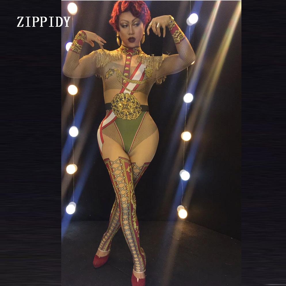 Military Uniform Bodysuit Leggings Costume Female Singer Stage Tassel Epalates Leotard Dance WEAR Party Stretch Nude