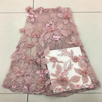 Pink Wedding Dress Lace Fabric, 3D Chiffon Flowers Nail Stones High End European Lace Fabric Free Shipping F385 2