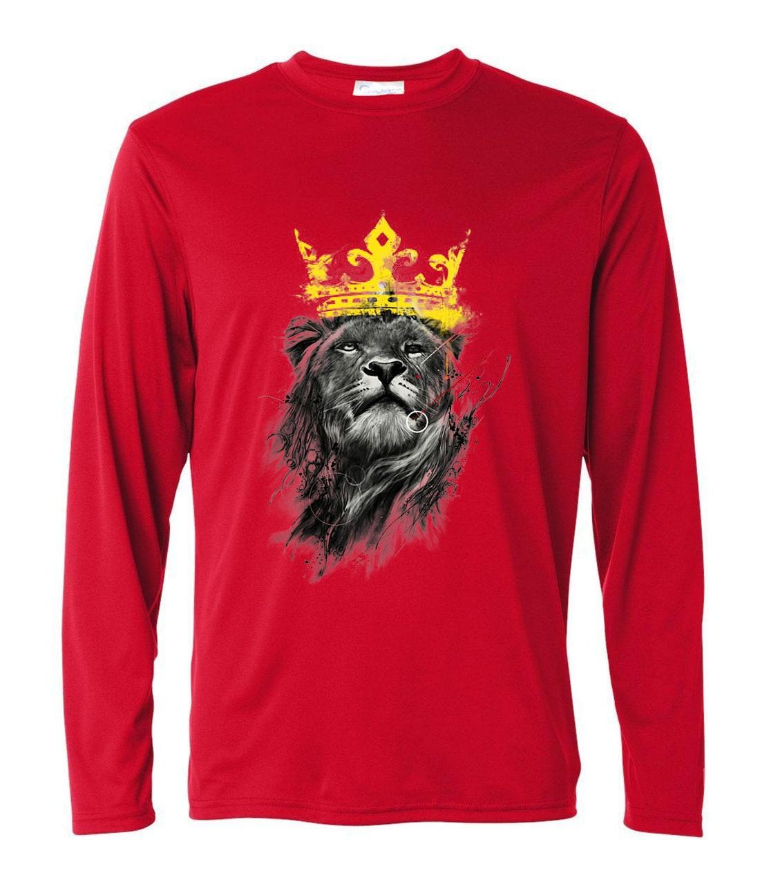 harajuku fitness men's casual t-shirt 2019 long sleeve king of lion t shirts for man spring summer harajuku tee shirt homme
