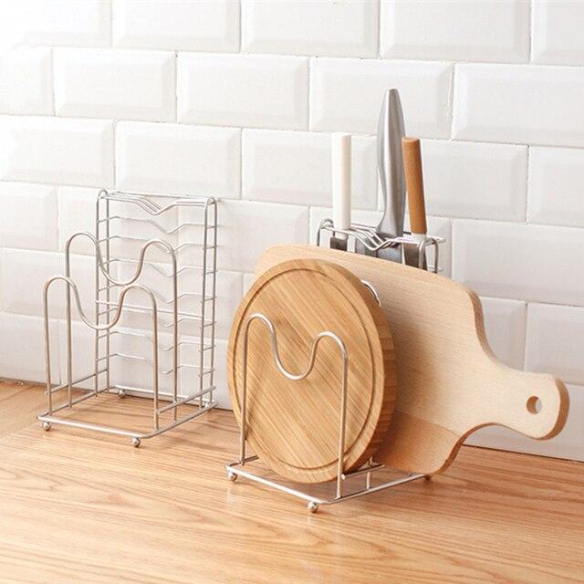 1pcs Stainless Steel Kitchen Storage Rack Pot Lid Shelf Pot U0026 Knife Rack  Stand Cover U0026