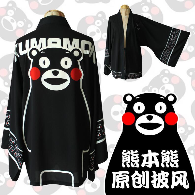 Anime Cute Kumamon Haori Cosplay Costume  Kimono Yukata Daily Chiffon Cloak