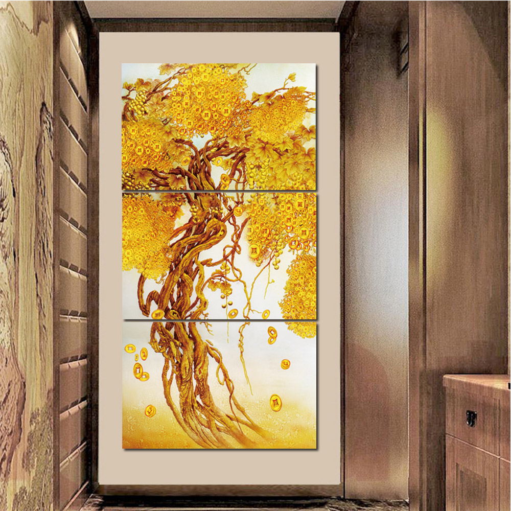 Unframed 3 HD Canvas Painting Money Tree Giclee Wall Decor For Living Room Bedroom Decorative Painting Unframed Free Shipping