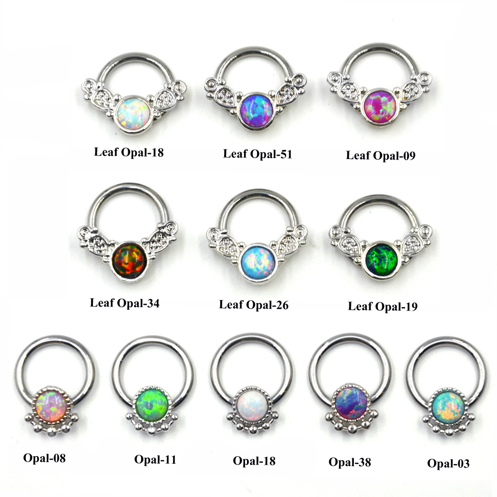 Opal Nose Ring Hoop Tribal Leafs Captive Bead Ring Clicker Bcr Septum  Cartilage Earring Lip Piercing