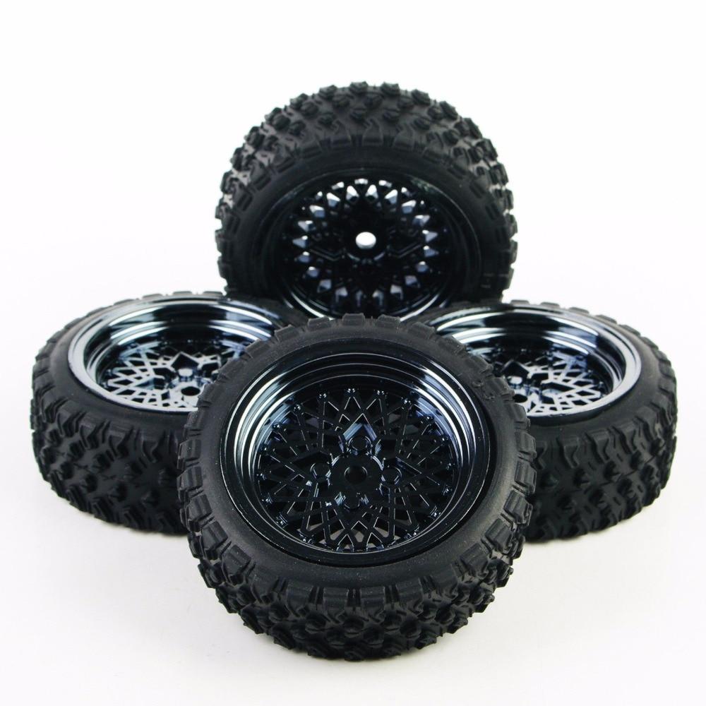 где купить 4Pcs/Set 1:10 RC CarFor HSP HPI RC 1/10 Rally Racing Off Road Car 4X Rubber Tires Wheel Rim 12mm Hex по лучшей цене