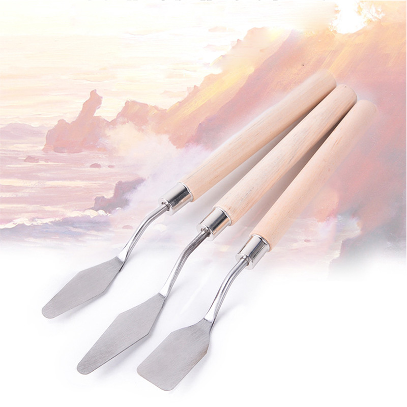 3Pcs/set Mixed Stainless Steel Palette Scraper Set for Artist Oil Painting Spatula Knives Tools Painting Knife Blade Supplies